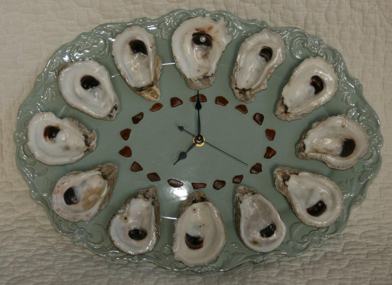 Oyster Shell Wall Clock Java Blue Louisiana Oyster Shells