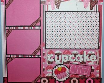 PREMADE 12 X 12 PAGE CUPCAKE CUTIE VALENTINE BIRTHDAY CAKE