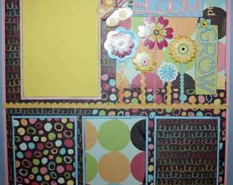 12x12 PREMADE SCRAPBOOK PAGE BLOOM and GROW FLOWERS GARDEN GIRL