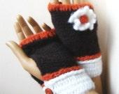 Fingerless Gloves, Knitted Fingerless Gloves, Mittens, Hand Warmers, Winter Accessories, Gloves & Mittens, Mitt, For Her, Darkbrown White