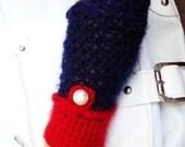 Hand Knit Dark Blue Red Gloves, Half Finger, Handknit Mitten, Arm Warmer, Fall Fashion, Winter Accessories