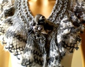 Hand Crochet Gray Neckwarmer Scarf, Chunky, Cowl, Winter Accessories, Holiday Accessories, Warm,Fall Fashion