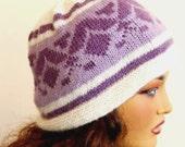 Hand Knit Lavender Purple White Hat, Winter Accessories, Holiday Accessories, Handknit Lavender Hat