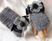 Hand Crochet Gray Gloves, Arm Warmer, Adorned Black Ribbon, Mitten, Winter Accessories, Holiday Accessories