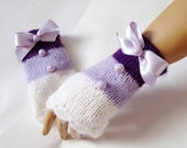 Hand Knit Gloves, Mitten,  Arm Warmer, White Lavender Purple, Ribbon And Beeds, Holiday Accessories, Winter Accessories, Fall Fashion