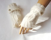 Hand Knit Ivory Gloves Mitten Fingerless Gloves Arm Warmer Winter Accessories Fall Fashion, Holiday Accessories