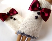 Hand Knitt Ivory Gloves,  Arm Warmer, Adorned Ribbon and Beeds, Mitten, Winter Accessories, Holiday Accessories, Ready to ship
