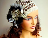 Bridal Cream Hat, Handcrochet Cream Hat Silk Floos, LaceFashion, Feather, Ribbon, Flower, Holiday Accessories,  Bride, Bridesmaid
