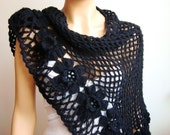 Handcrochet  Black Shawl, Wrap, Cowl,  Warm, Fall Fashion, Winter Accessories, Holiday Accessories