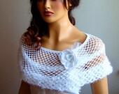 Wedding bolero,  Wedding capelet shrug, White Lace Capelet Bolero Shawl, Bride Shoulder Wrap,Bride Shawl, Lace Fashion