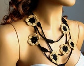 Yellow And Black Scarf, Necklace, Lariat, Neck Accessories, Eco-Friendly, Spring Summer Fashion