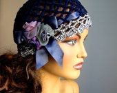 Hand Crochet Dark Blue Gray Hat, Bridal hat,  Holiday Accessories, Lace Fashion, Bride Hat, Bridesmaid Hat, Summer Hat, Dance, Ball, Party