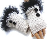 Hand Knit Gloves, Mitten,  Fingerless Gloves, Light Gray, Winter Accessories, Holiday Accessories,Fall Fashion