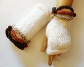 Hand Knit Ivory Gloves Mitten, Terracotta, Brown, Winter Accessories, Fall Fashion, Beads, Holiday Accessories
