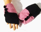 Hand Knit Black Pink Fingerless Gloves, Half Finger, Crochet Mitten, Holiday Accessories, Winter Accessories