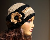 Hand Crochet Beige Black  Hat, Ornamented With Flower, Fall Fashion, Winter  Accessories