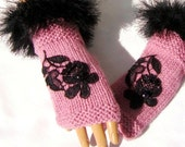 Hand Knit Pink Gloves, Half Finger, Mitten, Ornamented With Lace, Winter Accessories, Fingerless Gloves, Gift For Women And Girl