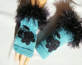 Hand knit Turquoise Gloves, Mitten, Ornamented With Lace And Bead, Fingerless, Winter Accessories, half finger gloves, Holiday Accessories