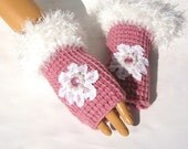 Hand Knit Pink And White Gloves, Mitten,White Lace, Bead, Winter Fashion, Fall Fashion, Fingerless, Winter Accessories, Armwarmer