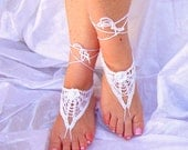 Hand Crochet Lace Barefoot Sandals, White Cotton, Summer, Beach, Pool, Yoga, Victorian, Gotic, Hippie, Gypsy
