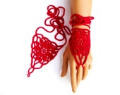 Hand Knit Red Coton Lace Gloves, Fingerless, Eco-Friendly, Hand jewelry, Sexy, Lolita, Bracelet , Dance, Steampunk, Bride, Bridesmaid