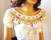 Hand Crochet Bridal Cream Lace Bolero Shrug,bridal cover up, Shawl, Bride Bridesmaid LaceFashion,Capelet, Bride Shoulder Wrap,