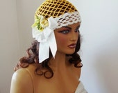 Hand Crochet  Dark Yellow And White Lace Hat, Bride Bridesmaid Hat, Ribbon And Organza Flowers,Holiday Accessories, Wedding Accessories