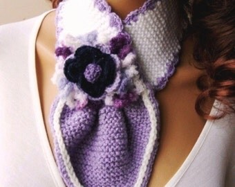 Hand Knit Lavender White Neckwarmer, Scarf, Purple Adorned Flower ,Winter Accessoridaes, Holiday Accessories