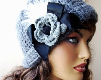 Hand Crochet Grey Hat Ornamented With Flower And Ribbon, Winter Accessories
