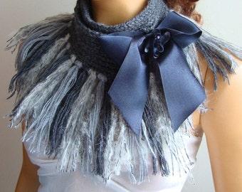 Shawl, Hand Knit Shawl,Scarf,Knit Scarf,Crochet Scarf,Light Grey Dark Gray Scarf,Shawl With Long Fringe,Ribbon,Cowl Scarf,Winter Accessories