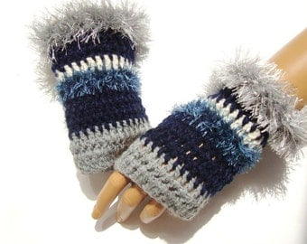 Hand Crochet Gloves,  Mitten, Gray Dark Blue Fingerless Gloves, Winter Accessories, Holiday Accessories