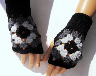 Hand Crochet  Black Gray Afgan Gloves, Mitten, Fingerless Holiday Accessories, Winter Accessories