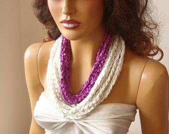 Hand Crochet Magenta And White Lariat Scarf, Long Scarf, Spring Fashion, Motherday Gift, Infinity Chain Scarf