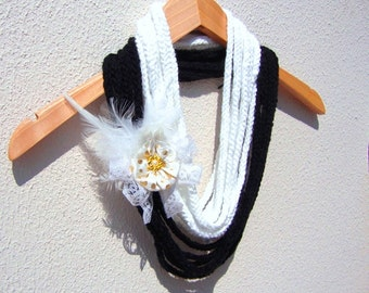 Hand Crochet White Black Lariat Scarf, Infinity Chain Scarf, Loop Scarf,  Long scarf, Spring Fashion
