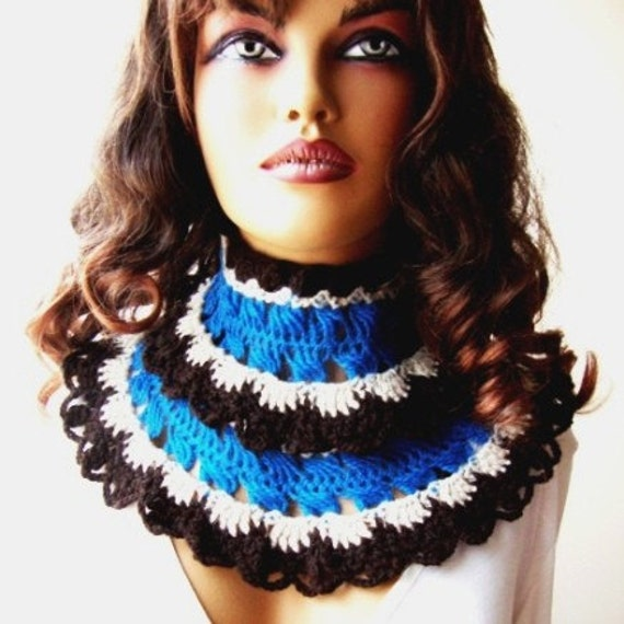 Hand Crochet Scarf, Blue Brown  Beige, Cowl, Chunky, Winter Accessories, Holiday Accessories, Long, Lace Fashion