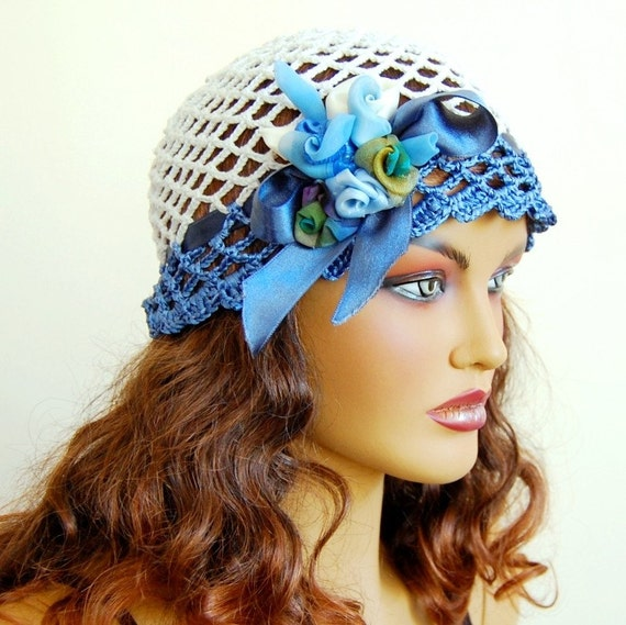 Hand Crochet Bridal Lace Hat, Blue White Bridal hat, Bride Bridesmaid Dance Party Hat