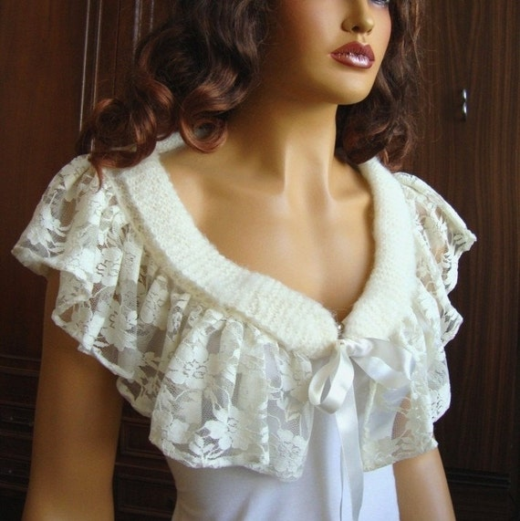 Hand Knit İvory Bridal Lace bolero shrug shawl,  Ivory Lace Shawl Capelet Lace And Ribbon, Bride Lace Wrap, Bridesmaid Lace Wrap