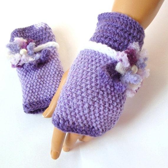 Hand Knit Gloves, Half Finger, Fall Fashion, Lavender Fingerless Gloves, Winter Accessories, Handknit gloves, Mitten, Armwarmer