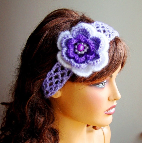 Hand Crochet  Headband, Hair Accessories,  Lavender, Ornamented With, White, Purple And Lavender  Flower