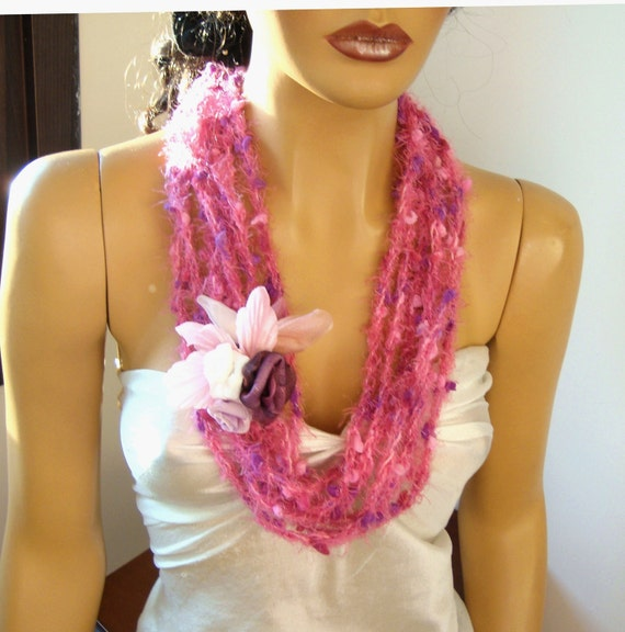 Hand Crochet Pink Lariat Scarf, Infinity Chain Scarf, Loop Scarf,  Long scarf, Spring Fashion