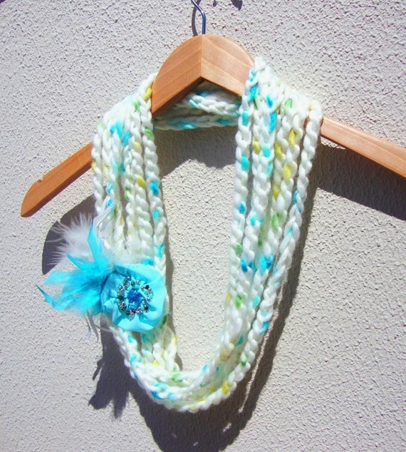 Hand Crochet White Lariat Scarf With Flower, Infinity Chain Scarf, Spring Fashion, Long Scarf, Gift for Motherday