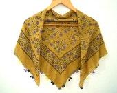 turkish floral scarf, mustard