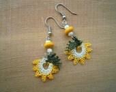 yellow flower earrings, needle lace
