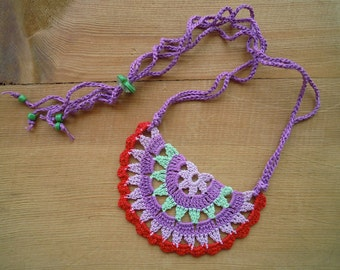 crochet necklace, multicolored