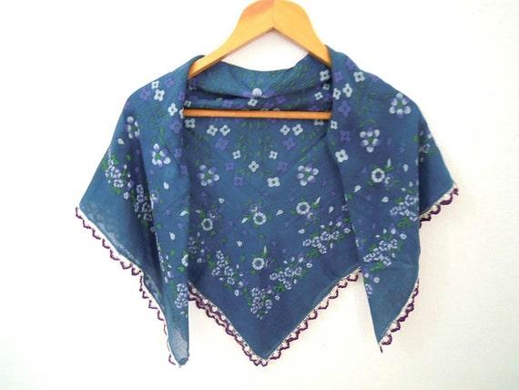blue floral scarf, vintage