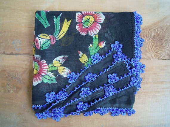 black floral scarf with blue beaded edging
