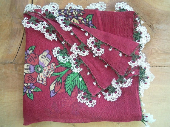 vintage turkish scarf, burgundy