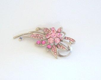 Pink Rhinestone Floral Stem Brooch