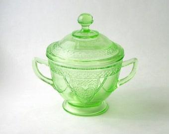 Georgian Lovebirds Sugar Bowl in Green