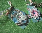 Adorable Baby Blue Glitter Polka dot Spring Flower Tags Set of 6